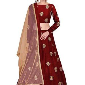 Embroidered Semi-Stitched Lehenga, Choli, Dupatta